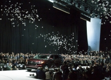 2014 Toyota Highlander comes down the runway at New York International Auto Show.