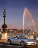 The famous Jet d'Eau in Lake Geneva and the surrounding Alps sets the stage on Friday, February 27, 2004, for the introduction of General Motors' 2005 Chevrolet Corvette Convertible in Geneva, Switzerland. The sixth-generation Corvette will be introduced at the opening of the Geneva Motor Show, March 2, 2004. Photo By:Joe Polimeni/General Motors