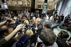"""Bob Carter, group vice president and general manager, Toyota Division, is surrounded by media after unveiling the 2011 Toyota Avalon at the Chicago Auto Show, Wednesday, February 10, 2010. Boldly redesigned, Carter said, """"the Avalon has long been appreciated by smart conscientious consumers who recognize quality materials and the beauty of detailed craftsmanship."""" The 2011 Toyota Avalon will arrive at showrooms in the spring of 2010. Photo: Joe Polimeni/Toyota"""