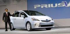 Akio Toyoda, President of Toyota Motor Company steps out of the Prius v,