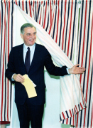 Walter F. Mondale steps out of the voting as the Democratic candidate for president